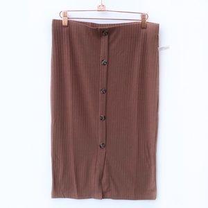 NWT Ribbed Knit Bodycon Midi Skirt Brown Large